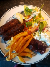 Vegan koftas from Great Food, sweet potato fries and salad