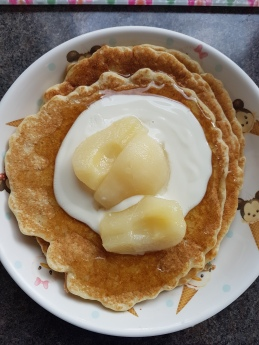 Gluten free milled linseed pancakes with soya yogurt and pears