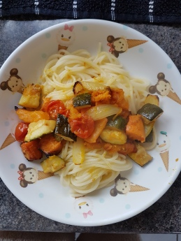 Roasted veggies and gluten free spaghetti